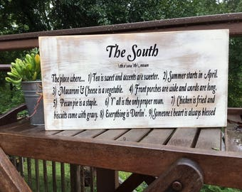 The South,Painted wood sign,Southern saying,gallery wall art,media wall art,fun porch sign,Tea is sweet,wood sign saying,southern home sign