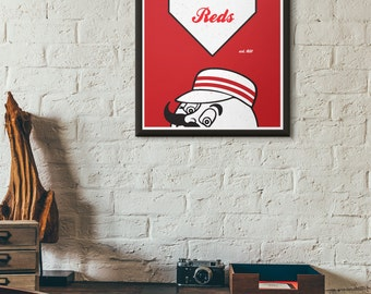 Cincinnati Reds Mr. Red Minimal Baseball Poster