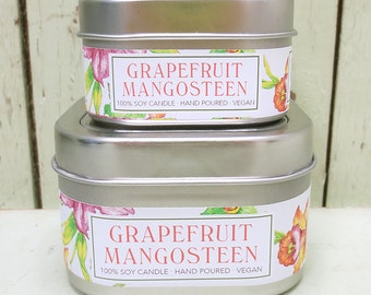 Grapefruit Mangosteen Soy Candle 4 oz. - Green Daffodil  - Handpoured - Anne and Siouxsan -C4