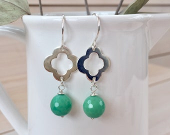 Green Chalcedony and Sterling Silver Quatrefoil Earrings