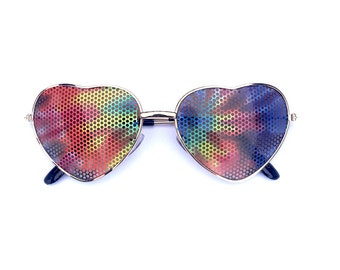 Tie Dyed Graphic Heart-Shaped Hippie Aviator Gold Sunglasses