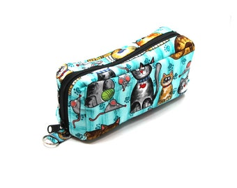 Essential Oil Case Holds 10 Bottles Essential Oil Bag Big Eyed Cats on Turquoise