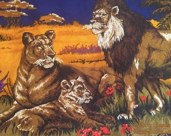 Lions Wall Fabric Hanging Vintage 70s or 80s Decor Decoration Eighties Collectible sofa back cover Family Mother Father cub baby jewel tones