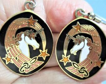 Unicorn Cloisonne Earrings Large Dangle Earrings Pierced Ear Wires Earrings Black & Gold Enamel White Unicorn Enamel Jewelry Holiday Gift