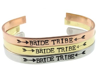 Bridesmaid Gifts - Engraved Custom Cuffs  - Hand Stamped Jewelry - Bride Tribe Bracelet - Expressions Bracelets Gifts Under 15