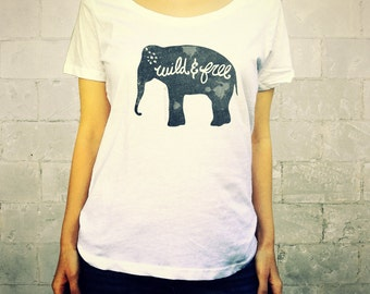 Wild and Free (Elephant in Grey) // Ladies Womens Shirt, scoop neck, T-shirt, Illustration, Animal, Free Circus Elephants, Lisa Barbero