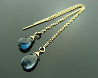 Genuine London Blue Topaz 14K Gold Filled Ear Threads