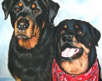 SAMPLE Pastel, Double Pet Portrait, Rottweilers, Commission your Pet Portrait today! RedRobinArt, Grigsby Gallery and Gifts