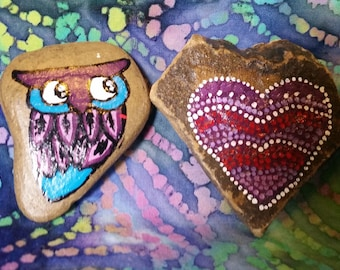 Love Owl and Heart Rocks