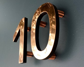 """Modern Contemporary 4""""/100mm high floating House numbers in Antigoni, copper faced - Polished and  lacquered"""