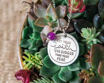 Let Your Faith Be Bigger Than Your Fear, Faith Bigger Than Fear Necklace, Deena Rutter, Let Your Faith Be Bigger Than Your Fear Necklace