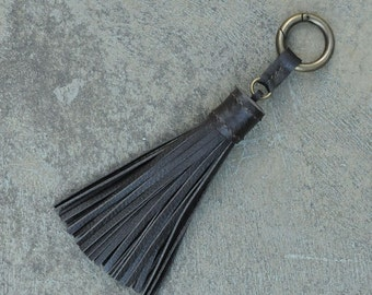 LARGE Type -Chocolate Brown Unique and Chic Hand Stitched Cowhide Leather TASSEL Key Chain or Bag Charm-(Pls choose Key Ring color)