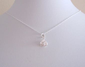 Tiny 3d ROSE FLOWER sterling silver charm with chain, delicate minimalistic necklace