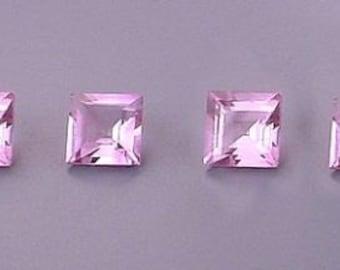 four  5mm square amethyst gem stone gemstone