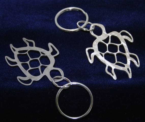 Stainless Steel Sea Turtle cutout Keychain Charm