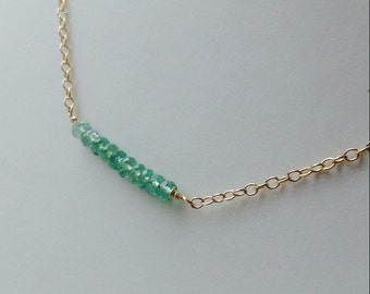 Delicate Colombian Emerald necklace, Emerald Pendant, May birthstone necklace , Birthstone Necklace,sterling silver, gold filled,natural gem