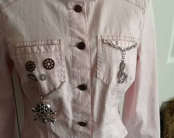 Women's Size 12 Upscaled Very Pale Pink Jean Jacket