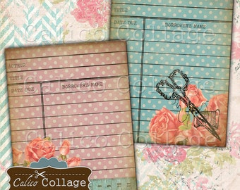 Sew Vintage, Library Cards, Printable Ephemera, Collage Sheet, Junk Journal, Digital Cards, Digital Library Card, Vintage Sewing