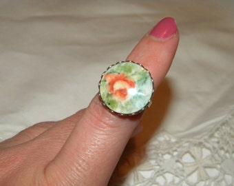 Vintage Porcelain Hand Painted Ring