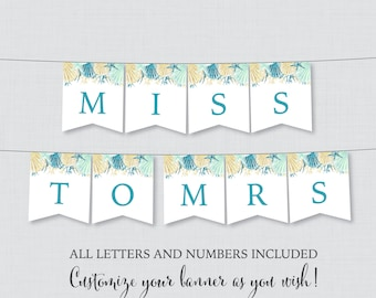 Printable Banner with ALL Letters and Numbers - Beach Themed Bridal Shower Decoration - Blue and Aqua Nautical Bridal Shower Banner 0012-B