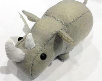 Little Rhino/Rhinoceros stuffed animal or plushie in grey/gray