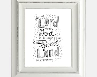 "Digital Download Graudation Print ""Good Land Deuteronomy"" Inspirational Bible Verse Hand Lettering Typography"