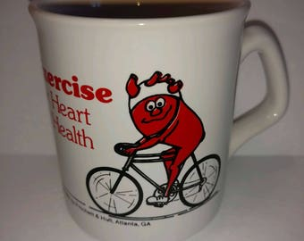 Vintage coffee mug 1985 exercise for heart and health bicycle riding