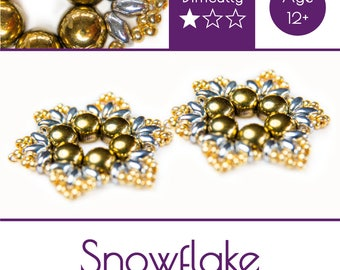 """Exclusive beading Kit for making two jewelry DIY """"Snowflake"""" (Gold-Silver) (SNW009)"""