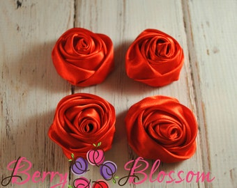 """Red Satin Rosette - 2"""" inch satin rose flowers - rolled soft rosette - set of 4 or 8 pieces"""