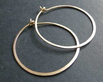 medium hoop earrings with bronze brass old style gold martellees and brushed about 4.cm diameter