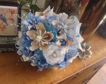 Origami Flower Map Bouquet Plus Boutonniere Lapel Flower
