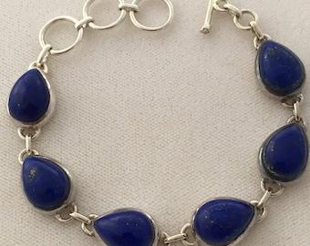 Lapis Lazuli Pear Dome Natural Stone Bezel Set 925 Sterling Silver Bracelet