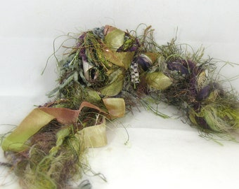 The Castle Weald Elements 26yd Art Yarn Fiber Bundle . Faerie Fantasy Mixed Media Collage . Sage Moss Plum Bronze Clay Dyed Ribbon Yarn Pack
