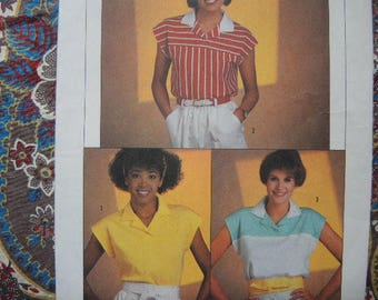vintage 1980s Simplicity sewing pattern 6755 misses' easy to sew pullover top  UNCUT size 10-12-14