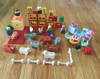 Vintage duplo LEGO toy farm animals kitchen building boy girl toddler game learning game pretend play LEGO lot set miniature board game doll