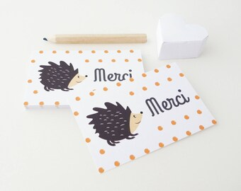Set of 18 mini hedgehogs picture small thank you cards