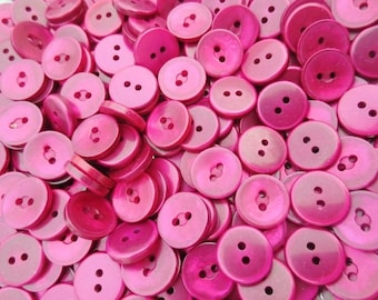 """Pearlized Buttons 5/8"""" Plastic 2 Hole Flat Back Berry Ruby 100 pieces"""