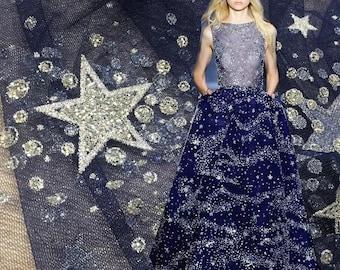 "Delicate Bling Bling Glitter Sequins Iron-on Hotfix Wedding Dress Fishtail Dress Lace Mesh Fabric 57""Wide/Yard C"