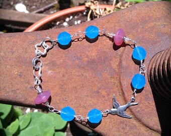 Silver Sparrow bracelet delicate blue pink and silver handmade jewelry gift