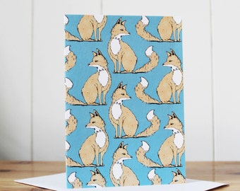 Fox Card -  fox gift - woodland card -fox birthday card - fox greeting card -  note card - blank notecard - fox - woodland animal