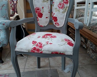 Beautiful grey carver chair upholstered in a floral fabric