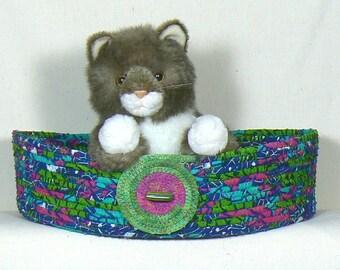 Washable Pet Bed, Cat Bedding, Cat Basket, Cat Snuggle Bed, Coiled Fabric Basket, Clothesline Basket, Oval Storage Basket, Bed for small Dog