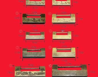 "Copper Lock Padlock – Retro  Bronze Yellow Aged  Plug Key - Internal Spur 1""~2""""(25mm-52) – Two Color - v115"