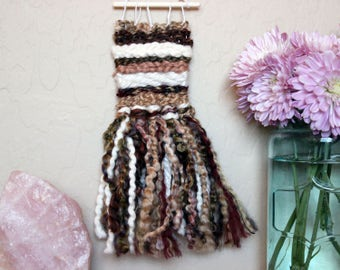 Brown Striped Mini Woven Wall Hanging - Neutral Striped Wall Art - Bohemian Dorm Room Decoration - Small Brown Striped Handwoven Tapestry