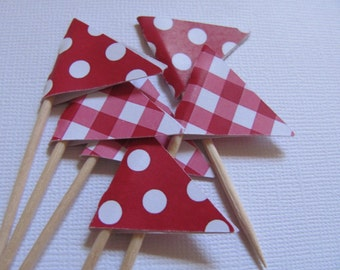Flag Food Picks, Flag Cupcake toppers, Set of 24, Teddy Bear Picnic Party