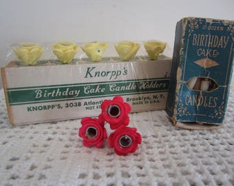 Vintage Birthday Cake Flower Candle Holders by Knorpp's New in Package Antique Cake Candles in Box Vintage Party
