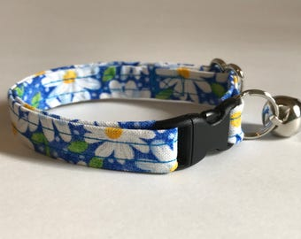 Daisies and dots on blue print kitten or cat collar - you choose the size