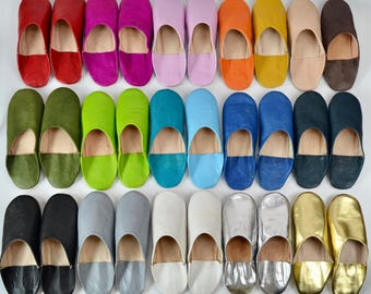 Womens Moroccan Leather Babouche Slippers, Handmade Slippers, Sheepskin Slippers, Womens Leather Slippers, Babouche, Mules, 18 Colours!