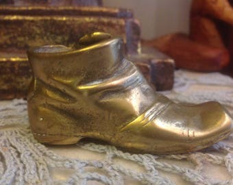 Vintage Brass Boot / Shoe With Mice