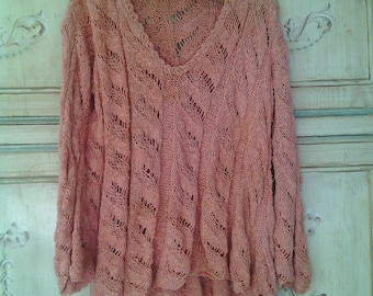 Handmade knitted linen and cotton sweater for women knitted pullover pink salmon chunky Braids handmade